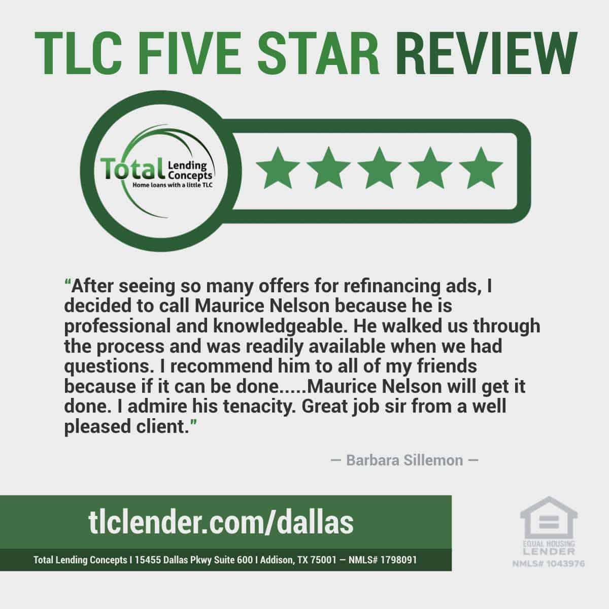 Total-Lending-Concepts-Five-Star-Review-Barbara-Sillemon-in-Addison-Texas-for-Maurice-Nelson-Home-Mortgage