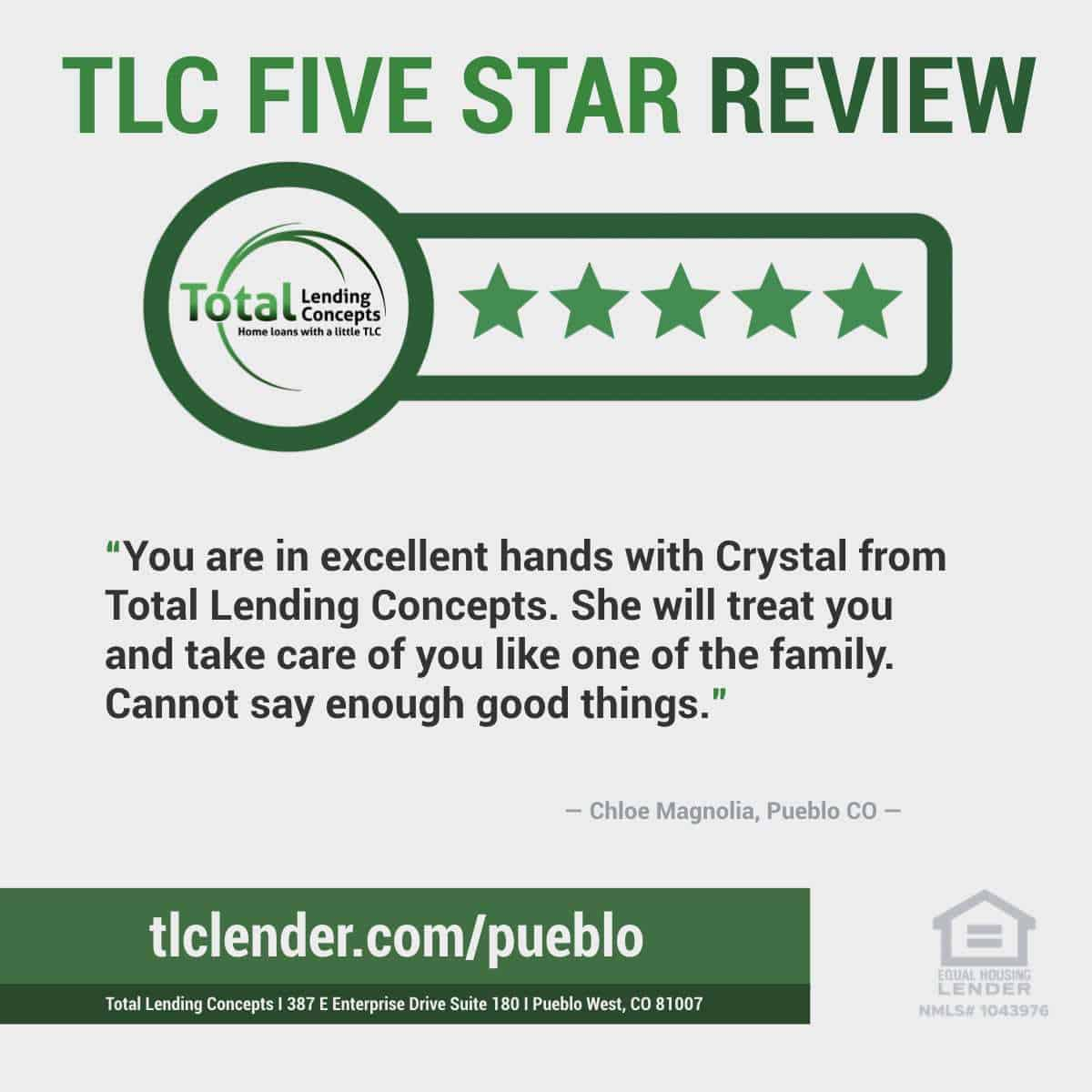 Total-Lending-Concepts-Five-Star-Review-Chloe-Magnolia-in-Pueblo-West-Colorado-for-Crystal-House-Mortgage