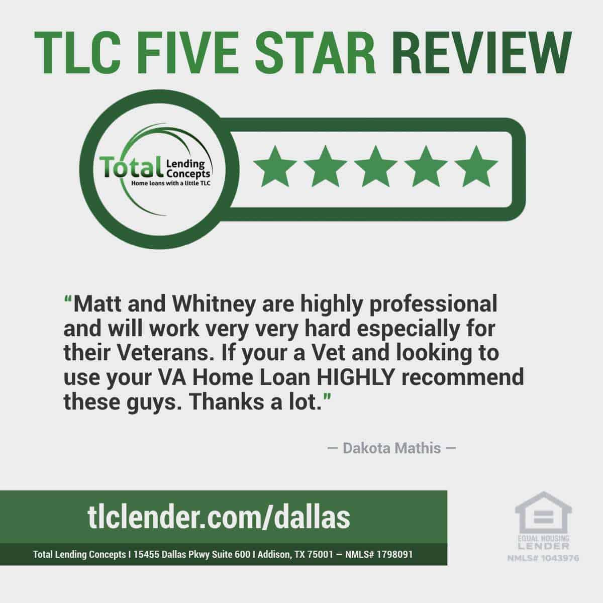 Total-Lending-Concepts-Five-Star-Review-Dakota-Mathis-in-Addison-Texas-for-Matt-and-Whitney-VA-Home