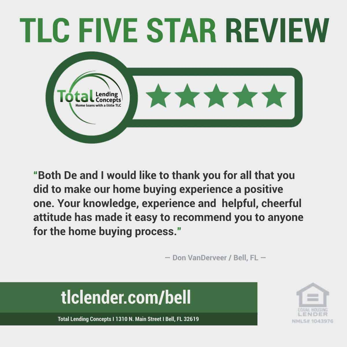 Total-Lending-Concepts-Five-Star-Review-Don-VanDerveer-in-Bell-Florida-House-Loan