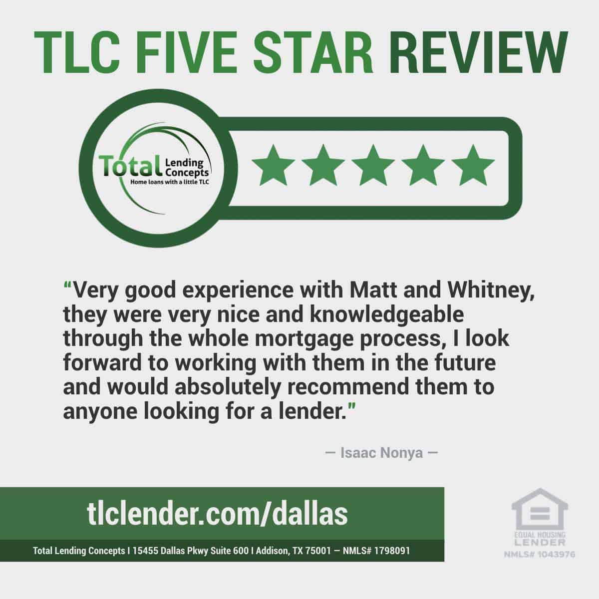 Total-Lending-Conces-Five-Star-Review-Isaac-Nonya-in-Addison-Texas-for-Matt-and-Whitney-House-Mortgage