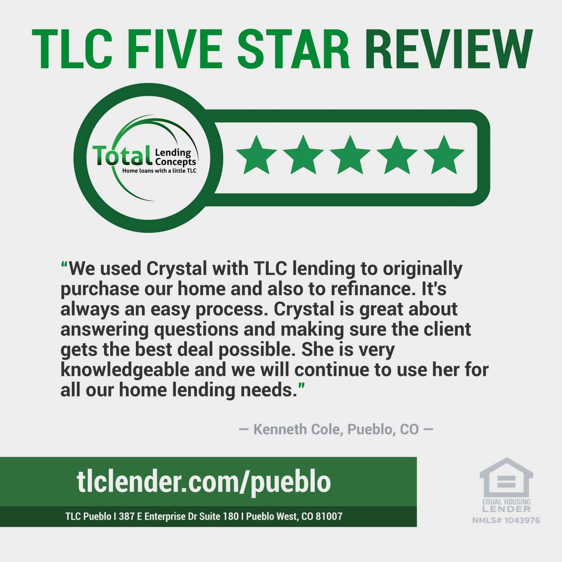 Total Lending Concepts Five Star Review Kenneth Cole in Pueblo West Columbia for Crystal Home Loan