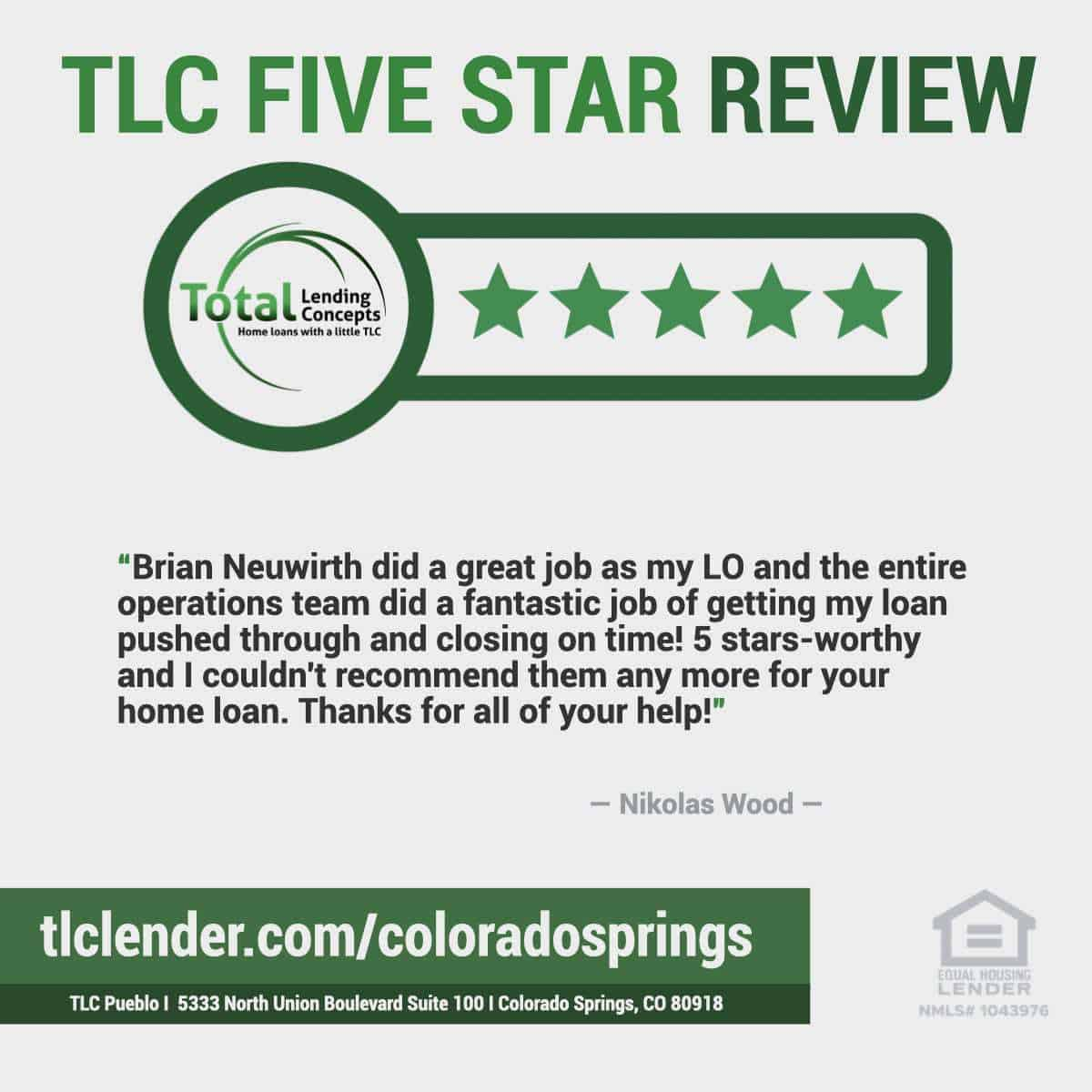 Five Star Review for Brian Neuwirth of Total Lending Concepts Home Loan Closing in Colorado Springs, Colorado