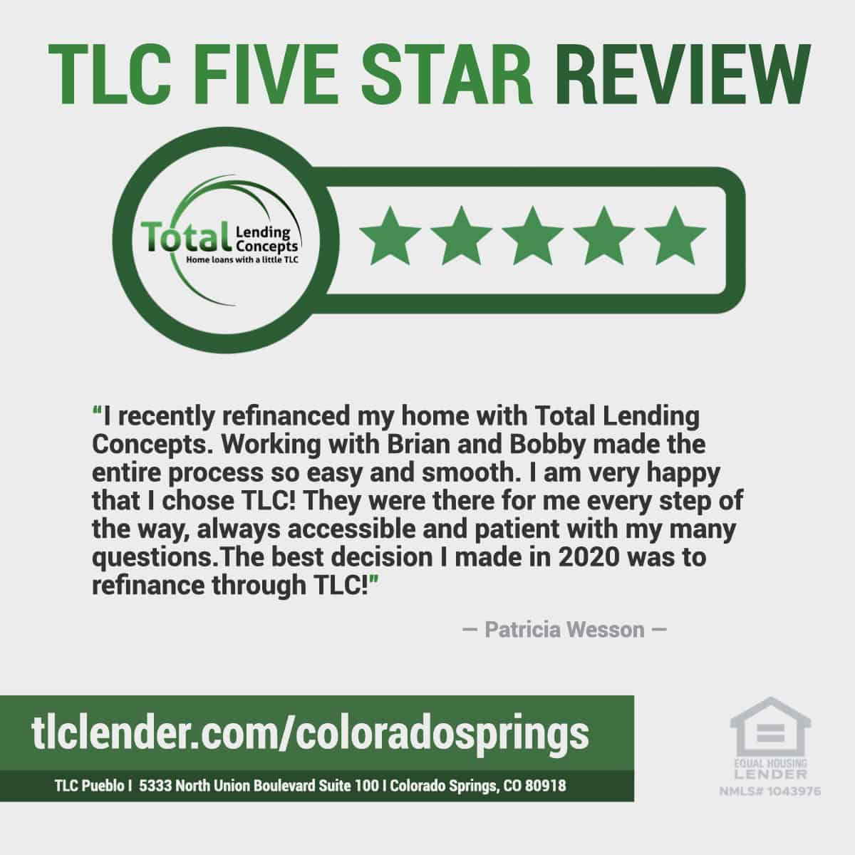 Five Star Review for Brian and Bobby from Total Lending Concepts Home Refinance in Colorado Springs Colorado